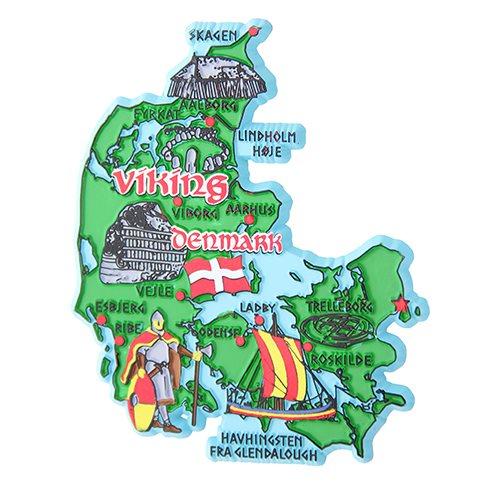 Gummimagnet Danmark Karta Viking Www Nordicsouvenir Com
